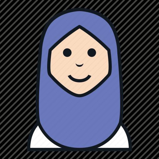 avatar, hijab, islam, muslim, people, veil, woman icon