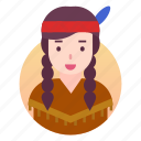 american, indian, outfit, people, woman icon