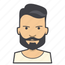 adult, avatar, beard, boy, face, head, hipster, male, man, young icon