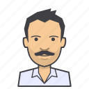 adult, avatar, face, head, male, man, moustache, young icon