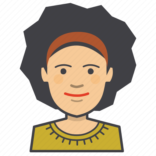 adult, afro, avatar, face, female, girl, head, woman, young icon