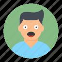 avatar, boy, man, shocking icon