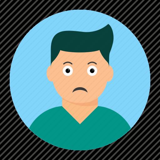 avatar, boy, man, sad icon