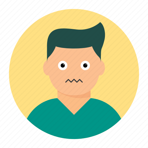 avatar, male, man, nervous icon
