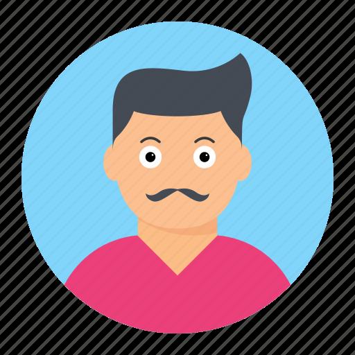 avatar, male, man, mustache icon