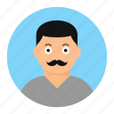 avatar, male, man, mustache icon
