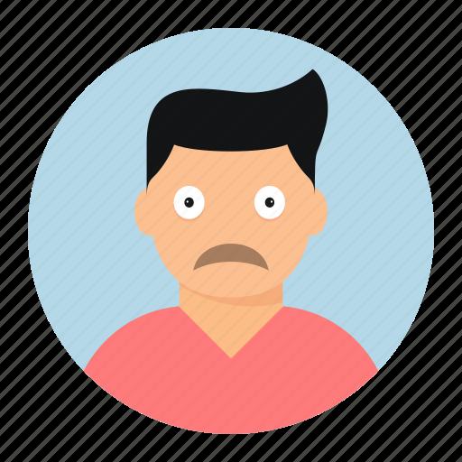 avatar, boy, face, sad icon