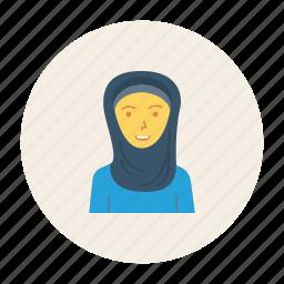 avatar, female, girl, muslim, person, profile, user icon