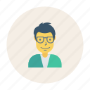 avatar, boy, glasses, person, profile, user, young icon