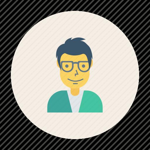 avatar, boy, glasses, person, profile, user, young icon