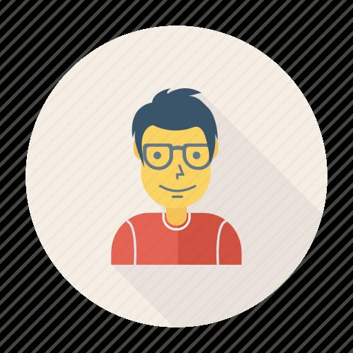 avatar, glasses, human, person, profile, user, young icon