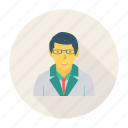 avatar, male, man, person, profile, scientist, user icon