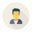 avatar, person, profile, user, waiter, worker, young icon