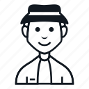 avatar, boy, character, hat, man, people, smile icon