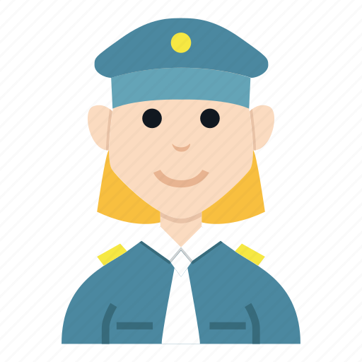 avatar, character, girl, people, police, smile, woman icon