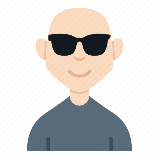 avatar, bald, boy, character, glasses, people, smile icon