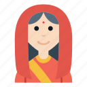 avatar, character, hindu, india, people, smile, woman icon