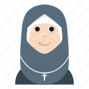 avatar, character, chirstian, nurse, people, smile, woman icon