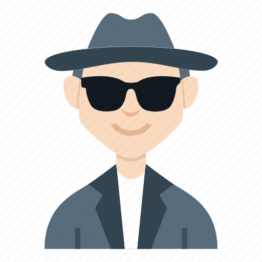 avatar, boy, character, detective, man, people, smile icon