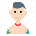 avatar, character, gangster, man, people, smile, tattoo icon