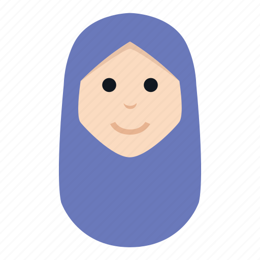 avatar, character, hijab, muslim, people, smile, woman icon