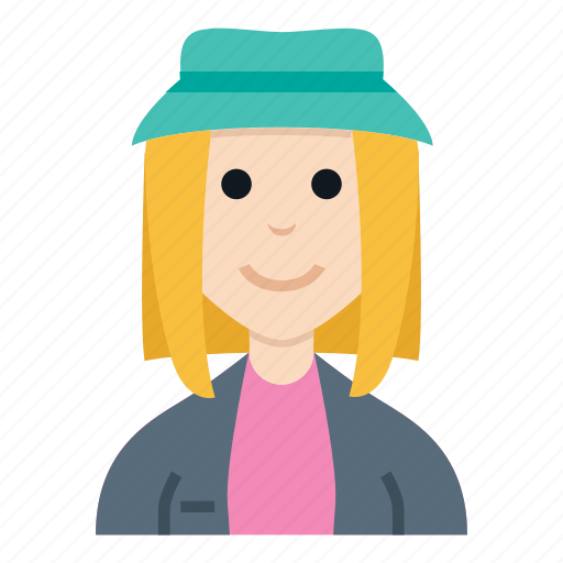 avatar, character, girl, hat, people, smile, woman icon