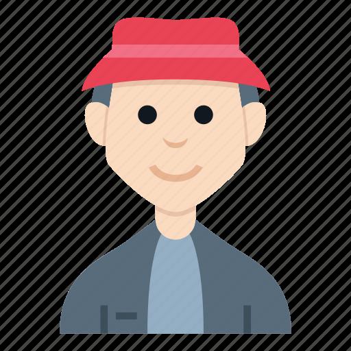 avatar, boy, character, fisherman, man, people, smile icon