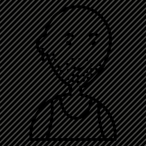 avatar, bald, beard, line, man, pierce, woman icon
