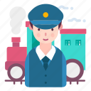 avatar, people, profession, train conductor icon