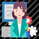 avatar, female, people, professional, programmer icon