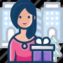 avatar, gift, gift box, people, woman