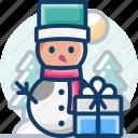 celebration, christmas, gift box, present, smowman, xmas icon