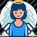 winter, christmas, angel, xmas icon