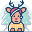 christmas, deer, gift, reindeer, winter, xmas
