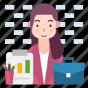 avatar, business, professional, women icon