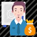 avatar, banker, person, profession icon