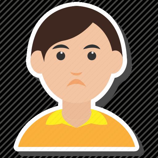 avatar, boy, eyeglasses, people, sad, student, user icon