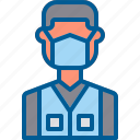coronavirus, face mask, male, vest, volunteer icon