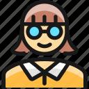 people, woman, glasses
