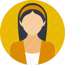 female assistant, female worker, lady employee, work of a company, young girl icon