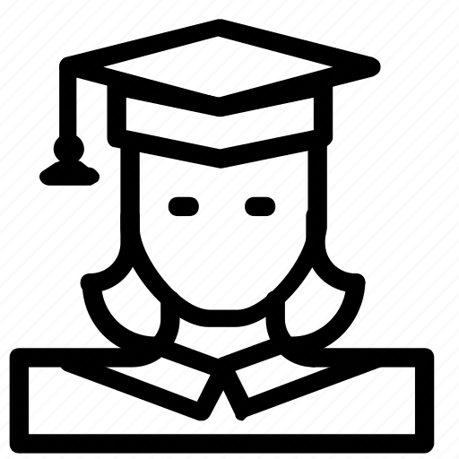 avatar, graduate, woman icon