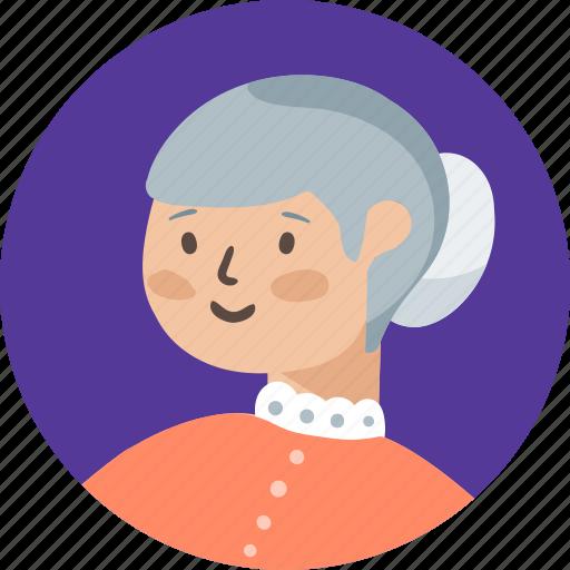 avatar, female, grand, mother, person, profile, woman icon