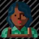 afro, avatar, farmer, female, human, portrait, profile icon