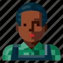 afro, avatar, farmer, human, male, portrait, profile