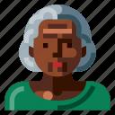 afro, avatar, human, old, portrait, profile, woman