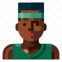 afro, avatar, human, man, portrait, profile, sport