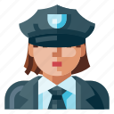 avatar, human, police, portrait, profile, user, woman