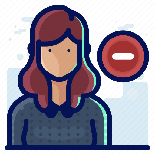 account, avatar, delete, minus, remove, user, woman icon