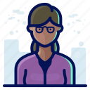account, avatar, female, glasses, people, user, woman icon