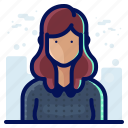 account, avatar, female, hair, people, user, woman icon